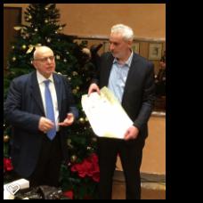 Il presidente FSI Pagnoncelli premia Alberto Meraviglia